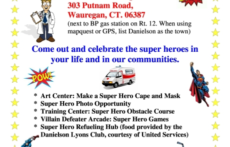 "United Services' to hold ""Super Hero Fun Day"" At Wauregan Clinic on October 15th"